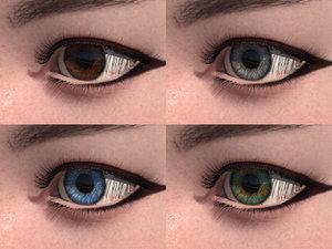 3D model cute eyes color