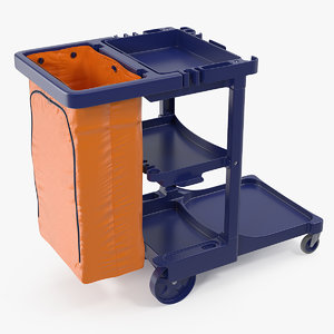 3D multi shelf cleaning cart