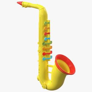 plastic colorful toy saxophone 3D model