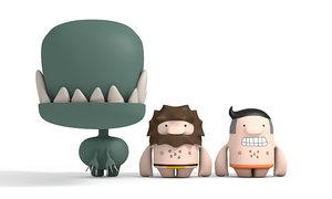 cartoon characters cave model