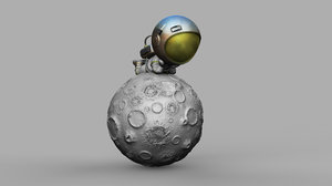 3D model spaceman lying moon print