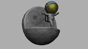 3D spaceman edge moon print
