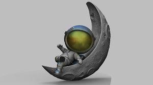3D chibi spaceman half moon