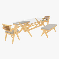 Cassina Jeanneret Capitol Complex Glass Table with Office Chair and Clear Bench Set