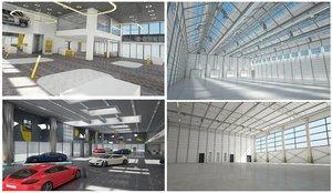 3D car dealership warehouse set
