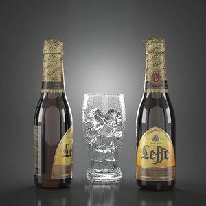 3D leffe blond beer bottles model