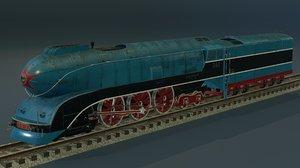 3D experienced steam locomotive 2-3-2 model