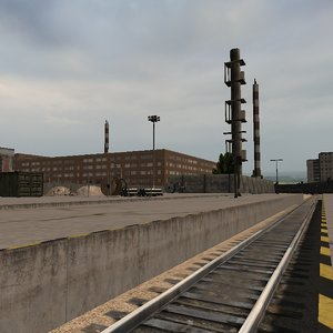 3D industrial trainstation warehouses
