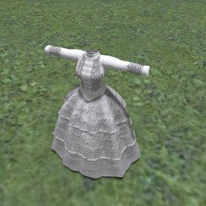 3D model big dress winter