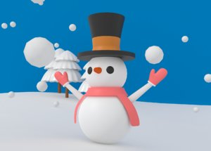 3D cartoon snowman model