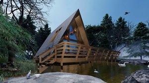 3D wood cabin