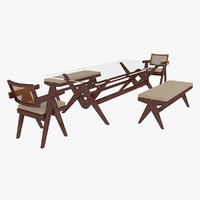 Cassina Jeanneret Capitol Complex Glass Table with Office Chair and Mahogany Bench Set