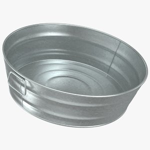 3D model realistic galvanized metal tub