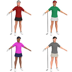 3D pack female golf woman