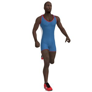 rigged athlete man 3d model