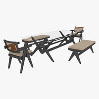 Cassina Jeanneret Capitol Complex Glass Table with Office Chair and Black Mahogany Bench Set