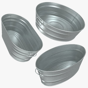 realistic galvanized metal tub 3D model