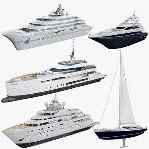 asset 5 superyachts luxury 3D model