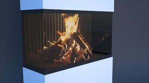 3D fireplace animation model