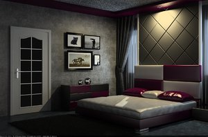 3D bed room bedroom model