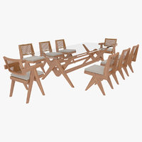 Cassina Jeanneret Capitol Complex Glass Table with Office Chair and Wooden Chair Set