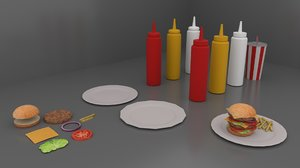 3D fast food pack model