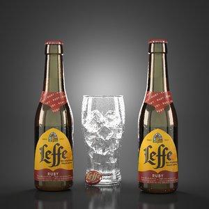 leffe ruby beer bottles 3D model