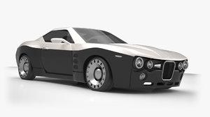 3D car retro futuristic
