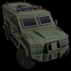 3D car armored green fbi model