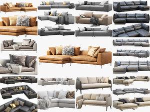3D modern sofas 14 fabric model