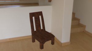 3D simple wooden chair