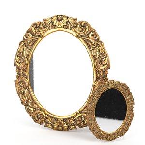 3D antique frame mirror 3 model
