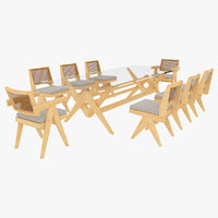 Cassina Jeanneret Capitol Complex Glass Table with Office Chair and Clear Chair Set