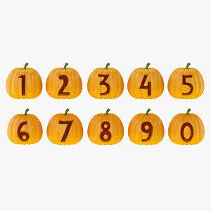 3D model halloween pumpkin number