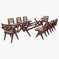 Cassina Jeanneret Capitol Complex Glass Table with Office Chair and Mahogany Chair Set