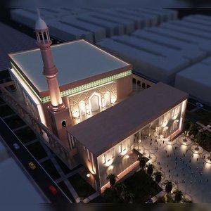 3D worship temple place mosque
