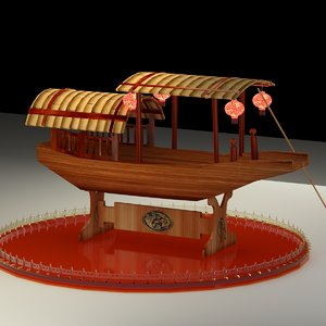 3D model chinese ancient boat