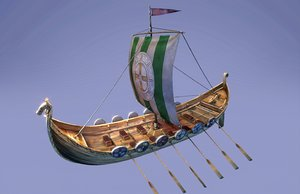 ship boat drakkar 3D model