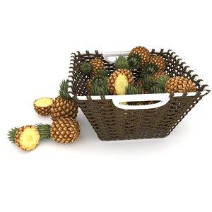 wicker pineapple fruit basket model