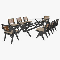 Cassina Jeanneret Capitol Complex Glass Table with Office Chair and Black Mahogany Chair Set
