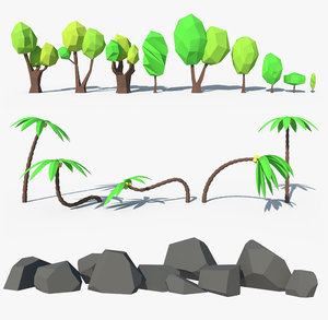 forest nature palms stones model