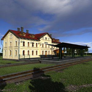 3D model railway station building