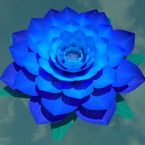 3D rigged blue flower model