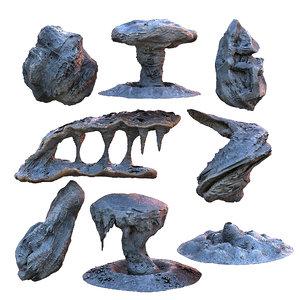 3D alien rock pack