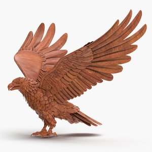 wooden eagle animation 3D