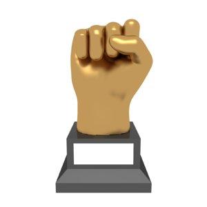 trophy award hand punch 3D model