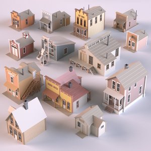 3D wild west buildings model