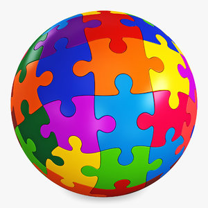 3D colored sphere puzzle v model
