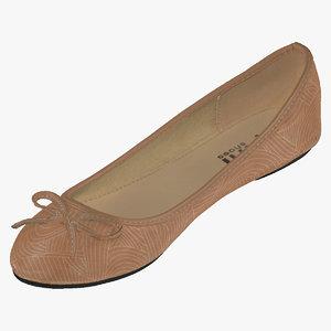 3D women casual ballerina shoes model