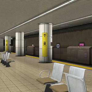 japanese subway station platform 3D model